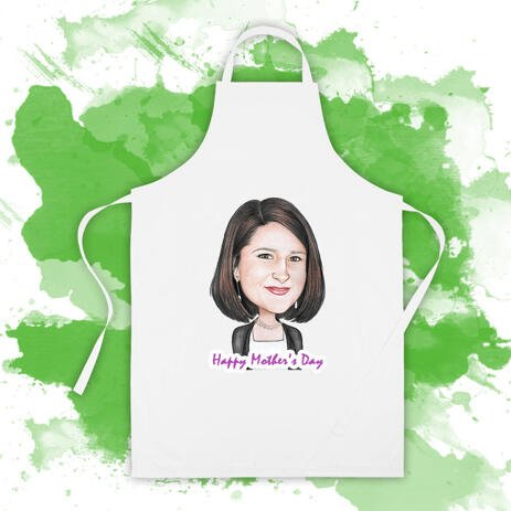 White Photo Apron: Custom Print of Cartoon Drawing on Apron                                                                                                                                                                                     - example