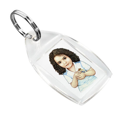 Kid Caricature Drawing Printed as Keyrings - example