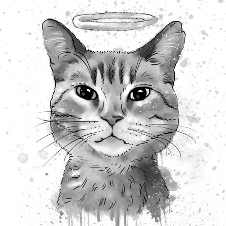 Cat Memorial Portrait with Halo in Watercolor Grayscale Style from Photo - example