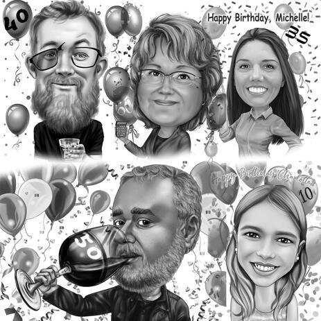 Varje milstolpsfödelsedagskarikatyr i svartvit stil - example