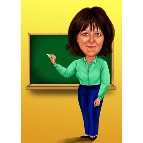 Teacher Full Body Caricature from Photos on Single Colored Background - example