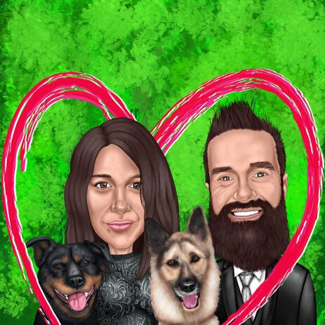Couple with Two Pets Caricature from Photo with One Color Background - example