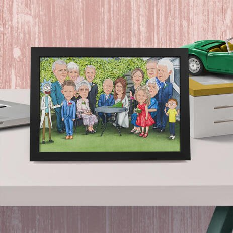 Wedding Poster Gift - Family Caricature Portrait with Custom Background - example