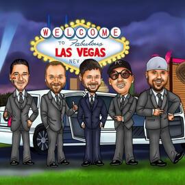 Groomsmen Las Vegasin sarjakuva valokuvista värillisellä digitaalisella tyylillä