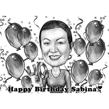 Mother Birthday Gift Caricature for 40 Years in Monochrome Style - example