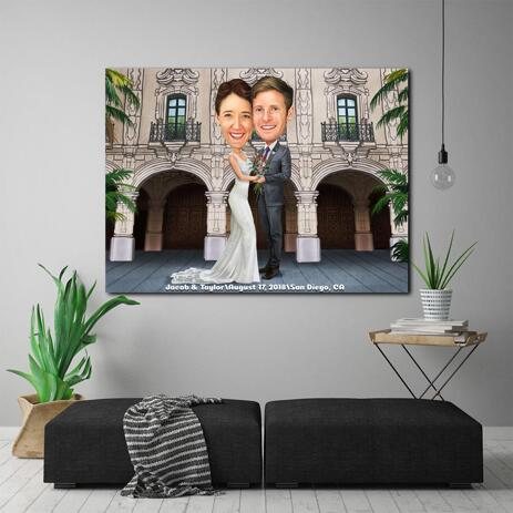 Newlyweds Caricature Drawing as Canvas - example