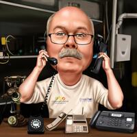 Telefonreparaturmann in der Werkstatt Farbkarikatur von Fotos