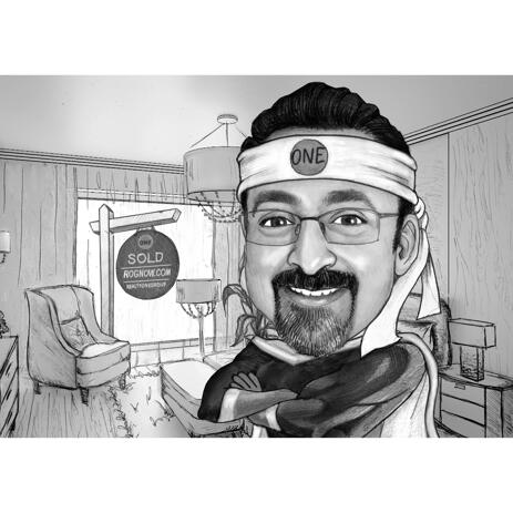 Superhero Caricature in Black and White Style with Custom Background - example