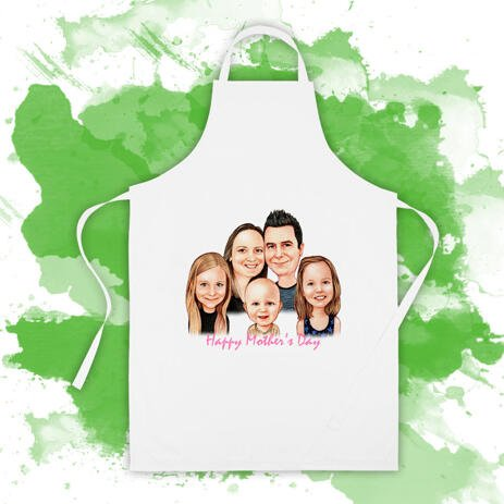 Personalized Print in Apron: Custom Family Cartoon Drawing - example