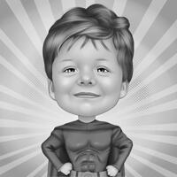 Kid Superhero Cartoon Caricature in Black and White Style with Background