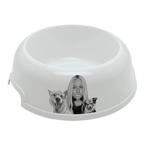 Owner with Pets Caricature on Pet Bowl - example