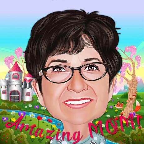 色のデジタルスタイルでロマンチックな母の日漫画のデッサン - example