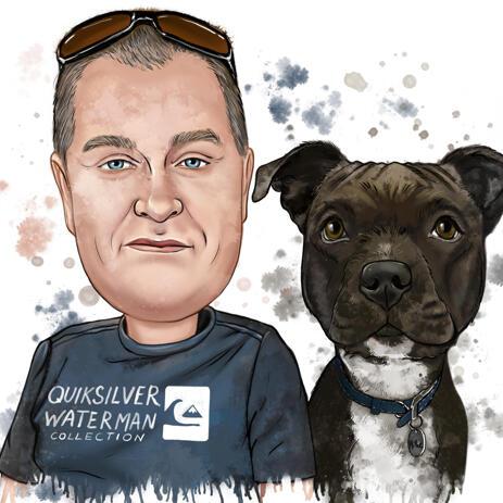 Акварельный портрет мужчины с собакой в натуральных тонах - example