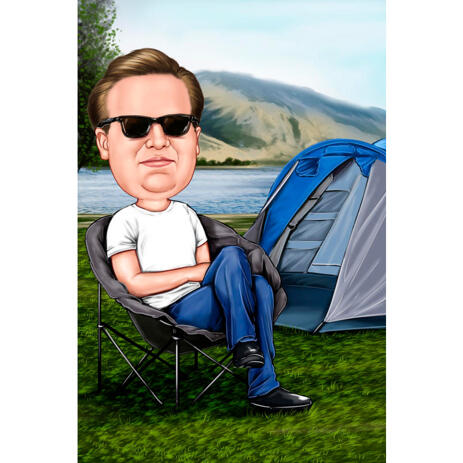 Outdoor Holiday Tent Camping Caricature of Person Hand Drawn in Colored Style - example