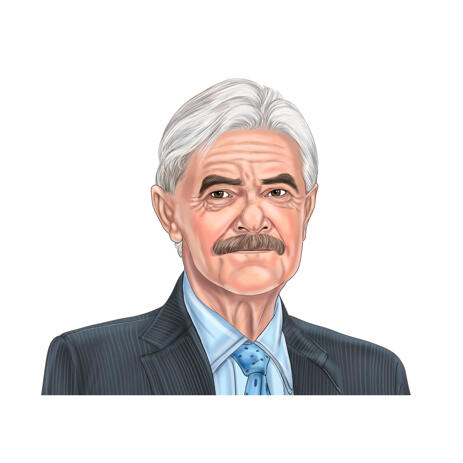 Colored Male Portrait Drawing Art from Photos with White Background - example