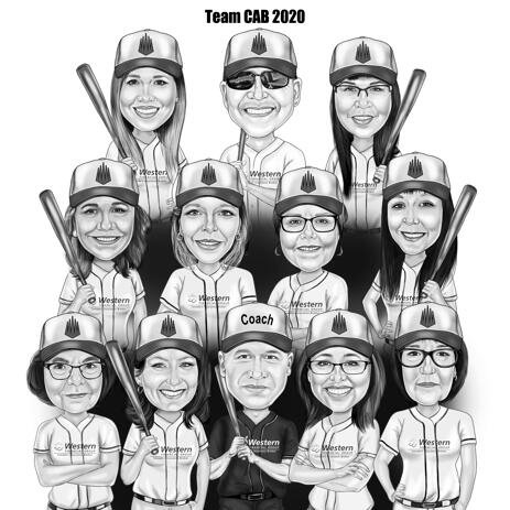 Baseball Team Caricature in Black and White Style - example
