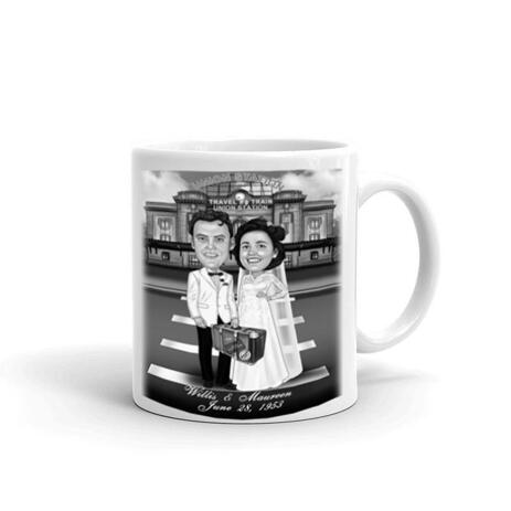 Funny Wedding Caricature for Bride and Groom Printed on Mug - example