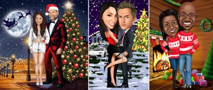 Christmas Couple Caricature