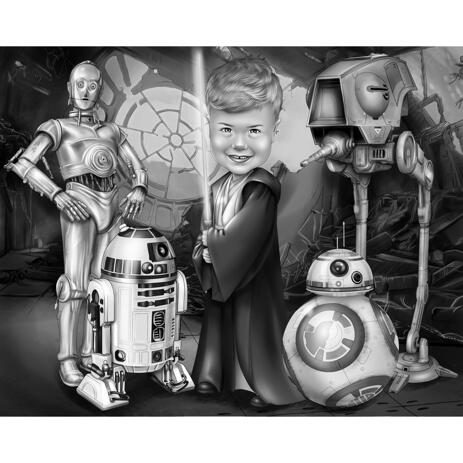 Kid Caricature in Black and White Style with Movie Characters for Customized Star Wars Fan Gift - example