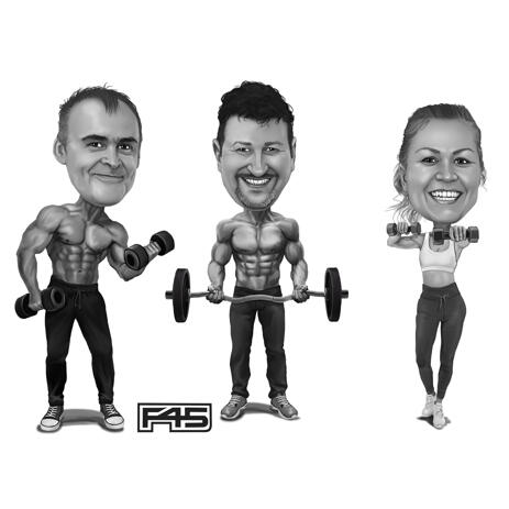 Personalized Bodybuilding Group Caricature in Black and White Style from Photos - example