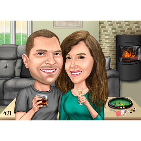 Custom Couple Cartoon from Photos with Home Background - example