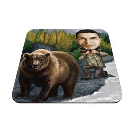 Man with Pet Caricature as Mouse Pad