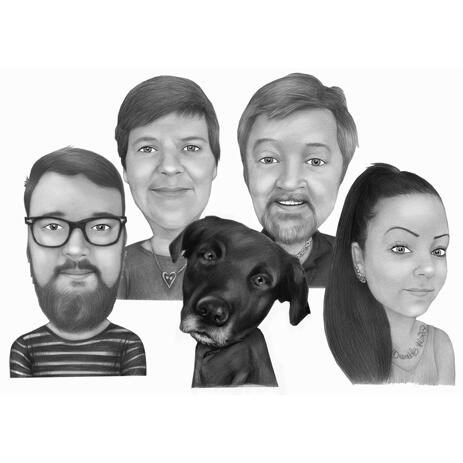 Black and White Style Caricature of Family with Labrador from Photos - example