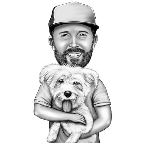 Owner with Bichon Caricature Portrait in Black and White Style from Photos - example