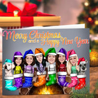Merry Christmas and Happy New Year Group Caricature as Set of 10 Holidays Cards Gift