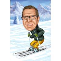 Full Body Skiing Person Karikatyr i färgstil med snöbakgrund