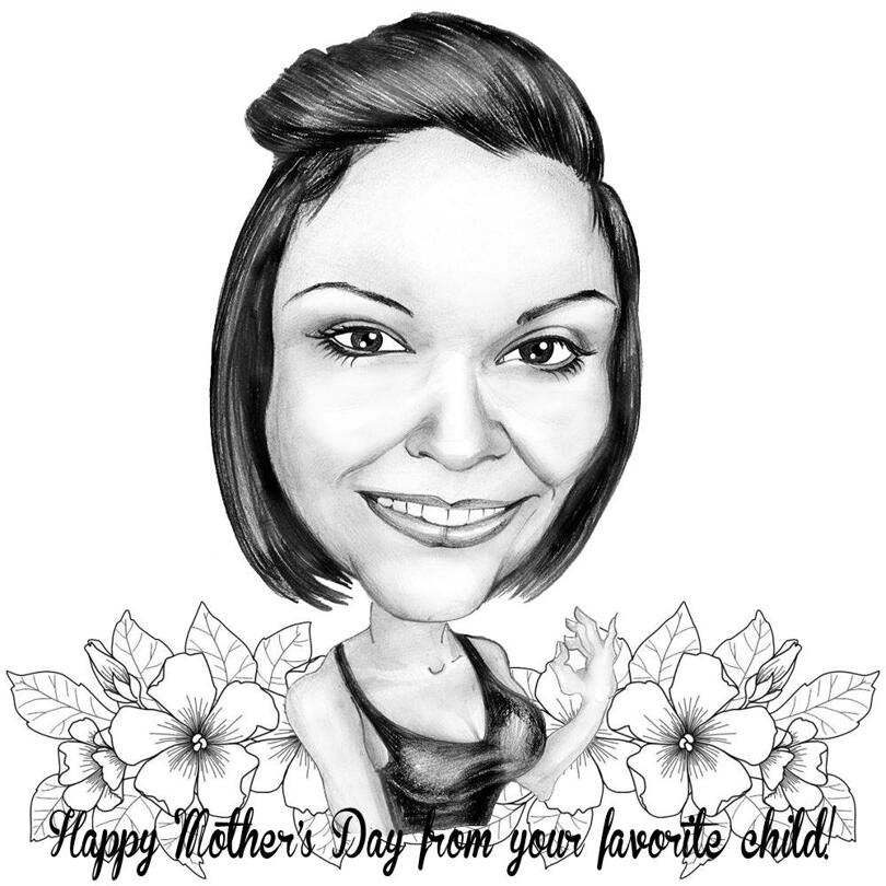 Custom Beautiful Caricature Drawing on Mother's Day Drawn in Pencils