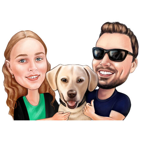 Labrador Owners Cartoon Drawing Custom Made from Photos in Color Style - example