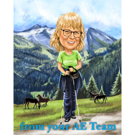 Person Hiking Cartoon Caricature Drawing with Custom Landscape Background from Photos - example