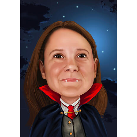 Person as Vampire Cartoon Caricature in Color style with Background - example