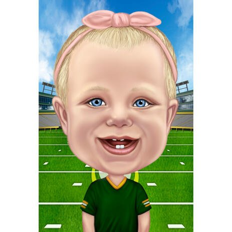 Baby Cartoon Caricature Drawing in Custom Jersey with Green Field Background - example