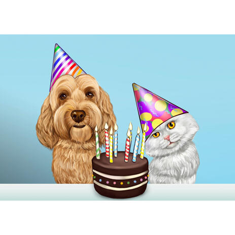 Dog and Cat with Cake - Birthday Caricature Gift for Pet Lovers in Colored Style - example