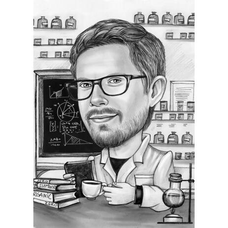 Cartoon aus Fotos im Schwarzweiß-Stil auf wissenschaftlichem Laborhintergrund - example