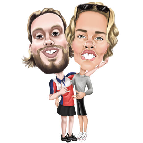 Best Mates Caricature in High Exaggerated Style from Photos - example