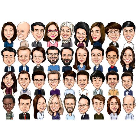 Funny Group Caricature for Companies - example