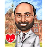 Карикатура кардиолога нарисованная с фотографий с индивидуальным фоном