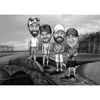 Full Body Friends Group Caricature in Black and White Style with Custom Background