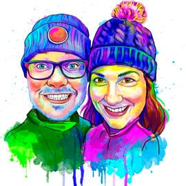 Rainbow Couple Portrait Drawing from Photos