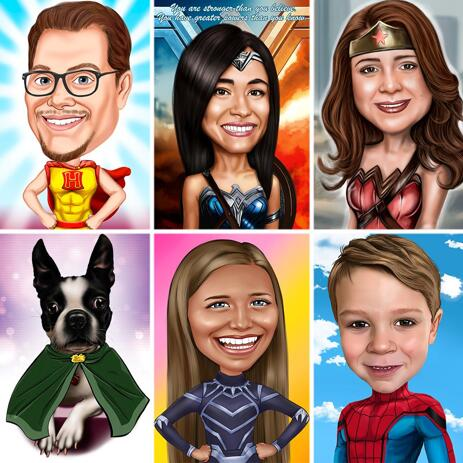 Custom Superhero Portrait Caricature with Colored Background - example