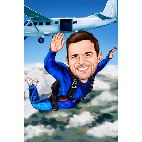 Parachutist Person Colored Style Caricature for Skydiving Lovers - example