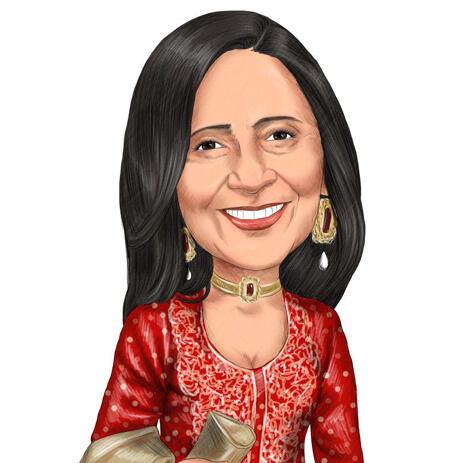 Personalized Woman Head and Shoulders Caricature Drawing for Perfect Bollywood Gift - example