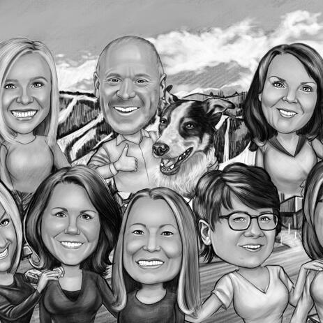 Custom Group Caricature from Photos with Custom Background - example