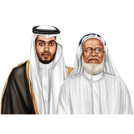 Realistic Head and Shoulders Arab Persons Portrait Drawing in Digital Colored Style from Photos - example