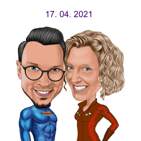 Custom Superhero Inspired Couple Caricature in Colored Head and Shoulders Style - example