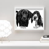 Dogs Caricature Drawing on Poster