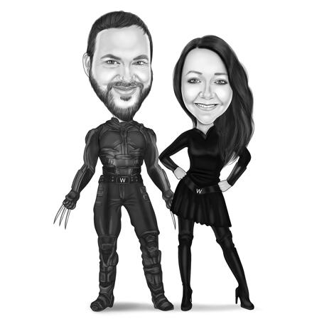 Superhero Brother and Sister Caricature Drawing from Photos - Best Birthday Gift Idea - example